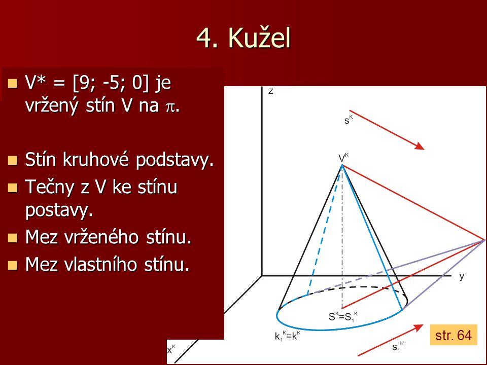 4. Kužel V* = [9; -5; 0] je vržený stín V na . Stín kruhové podstavy.